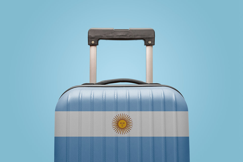 Suitcase with Argentinian flag design tr