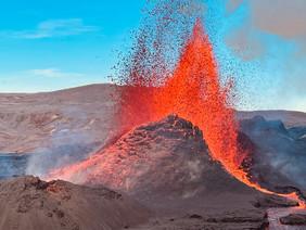 Fantastic red lava eruption in Fagradals