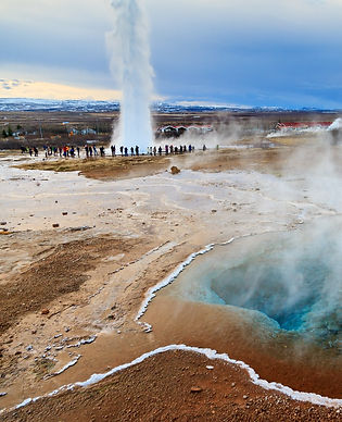 Blue pool at the Haukadalur geothermal area, part of the golden circle route, with the Str