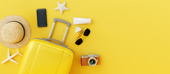 Flat lay yellow suitcase with traveler a