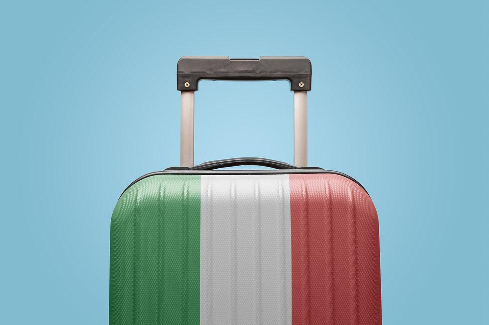Suitcase with Italian flag design travel