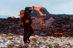 A man at Fagradalsfjall volcanic eruptio