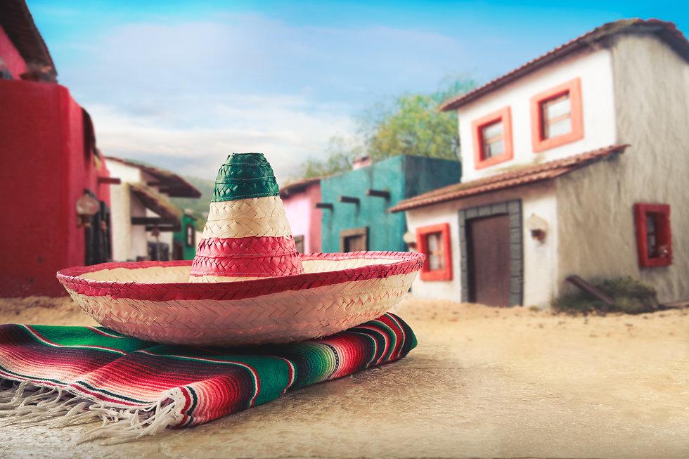 "Mexican hat ""sombrero"" on a ""serape"" in"