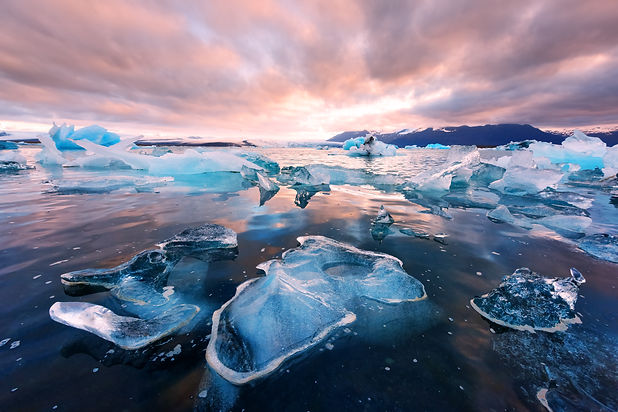 Icebergs in Jokulsarlon glacial lagoon.