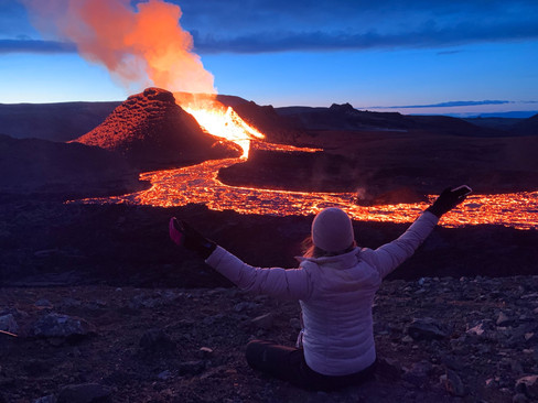 Happy customer at the volcano Fagradalsf