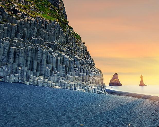 Amazing landscape with basalt rock forma