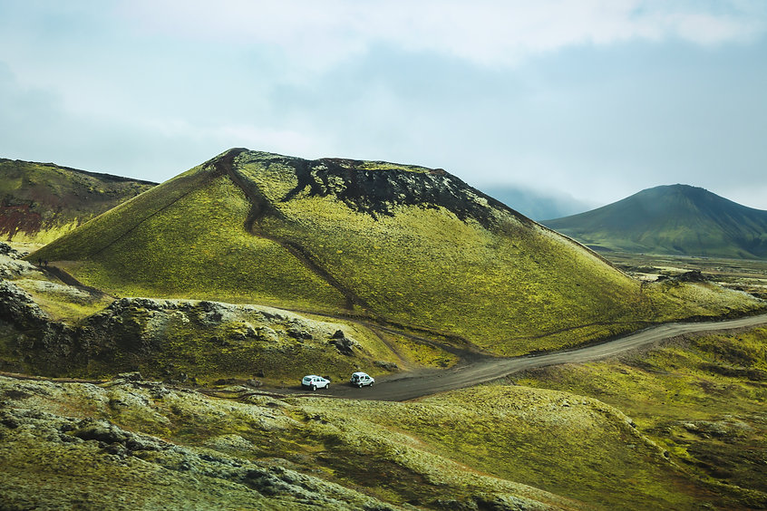 driving by car in highlands of Iceland,