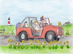 Day 32: TGIF! Chuck and the family drive around to see the daffodils.