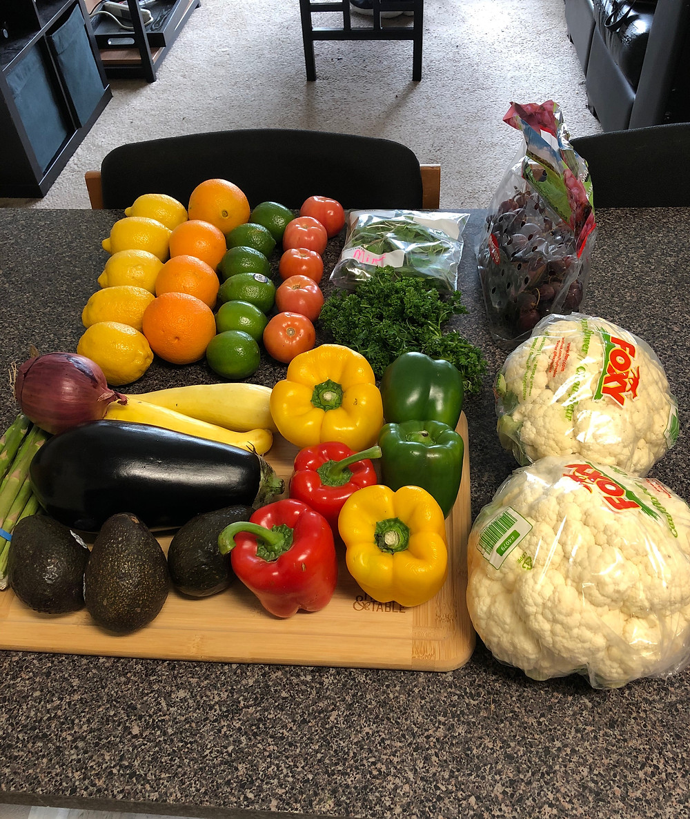 variety of food from the farmers market