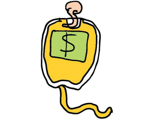 Blood bag or money bag?