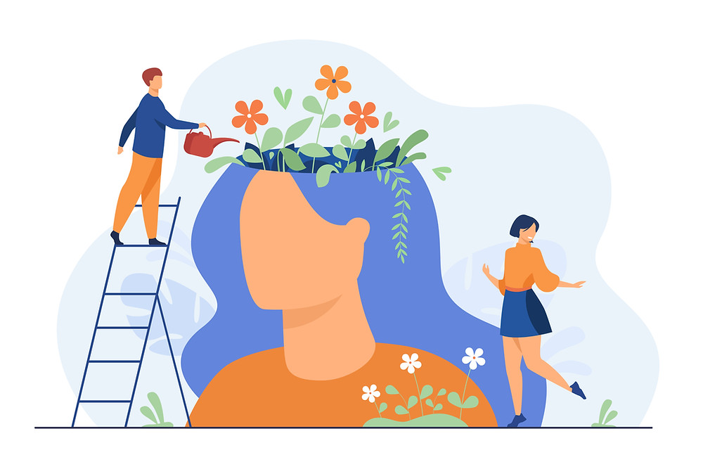 """illustration of loving yourself through """"watering the mind"""""""