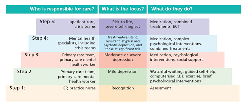 a chart explaining a Collaborative Stepped Care model