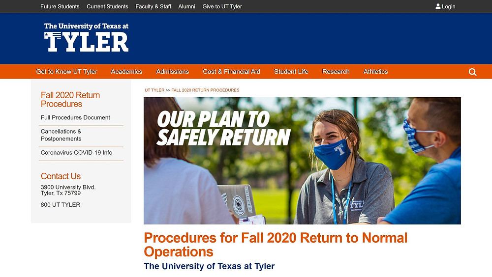 Procedures for Fall 2020 Return to Normal Operations
