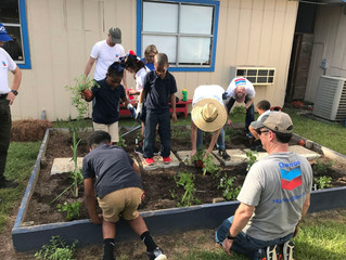 Chevron, American Heart Association Volunteers Plant Teaching Garden at Covington Boys & Girls C