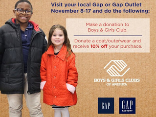 Gap has our back! Visit local Gap Stores and donate a coat for our Club youth.