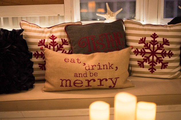Corner booth with Holiday Decor