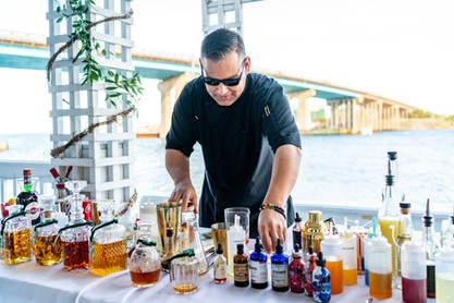 Portable bar on private deck