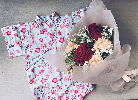 Floral Land Baby Romper + Bouquet
