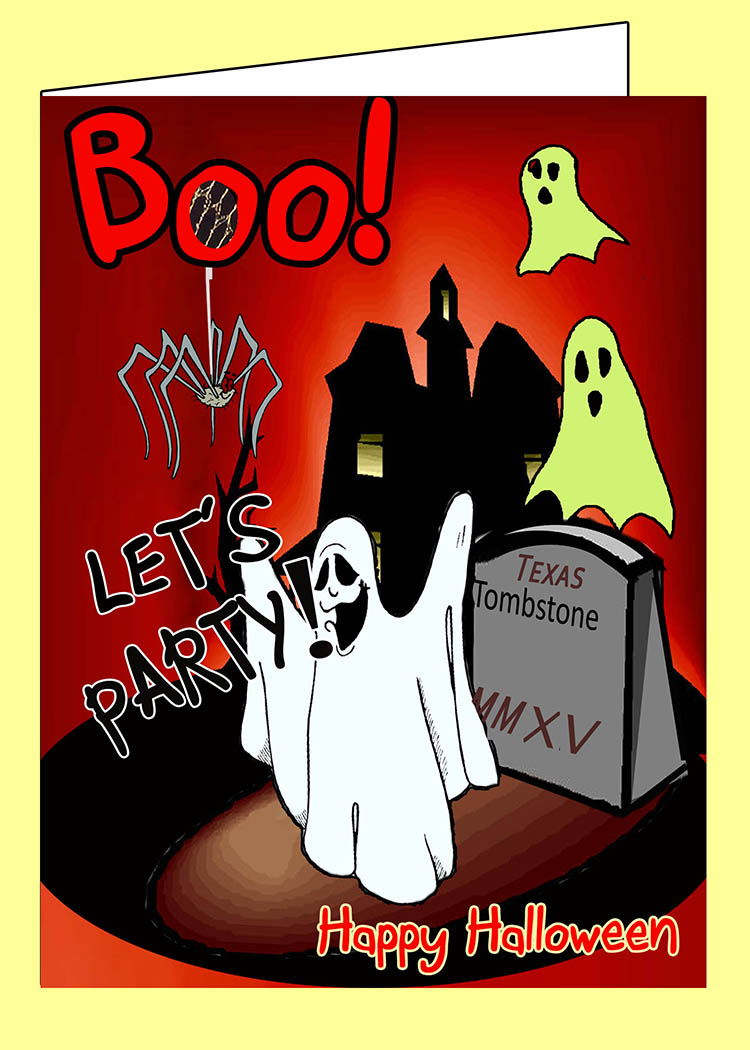 Boo Let's Party Halloween Card