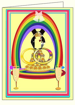 Male Unity/Rainbow Wedding Cake/Champagne
