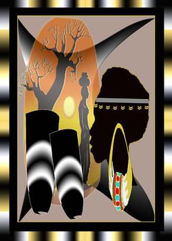 Africa Scene Gold Gradient