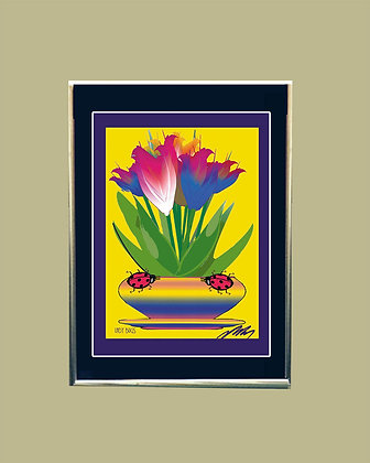 Floral Designs  Matted and Framed