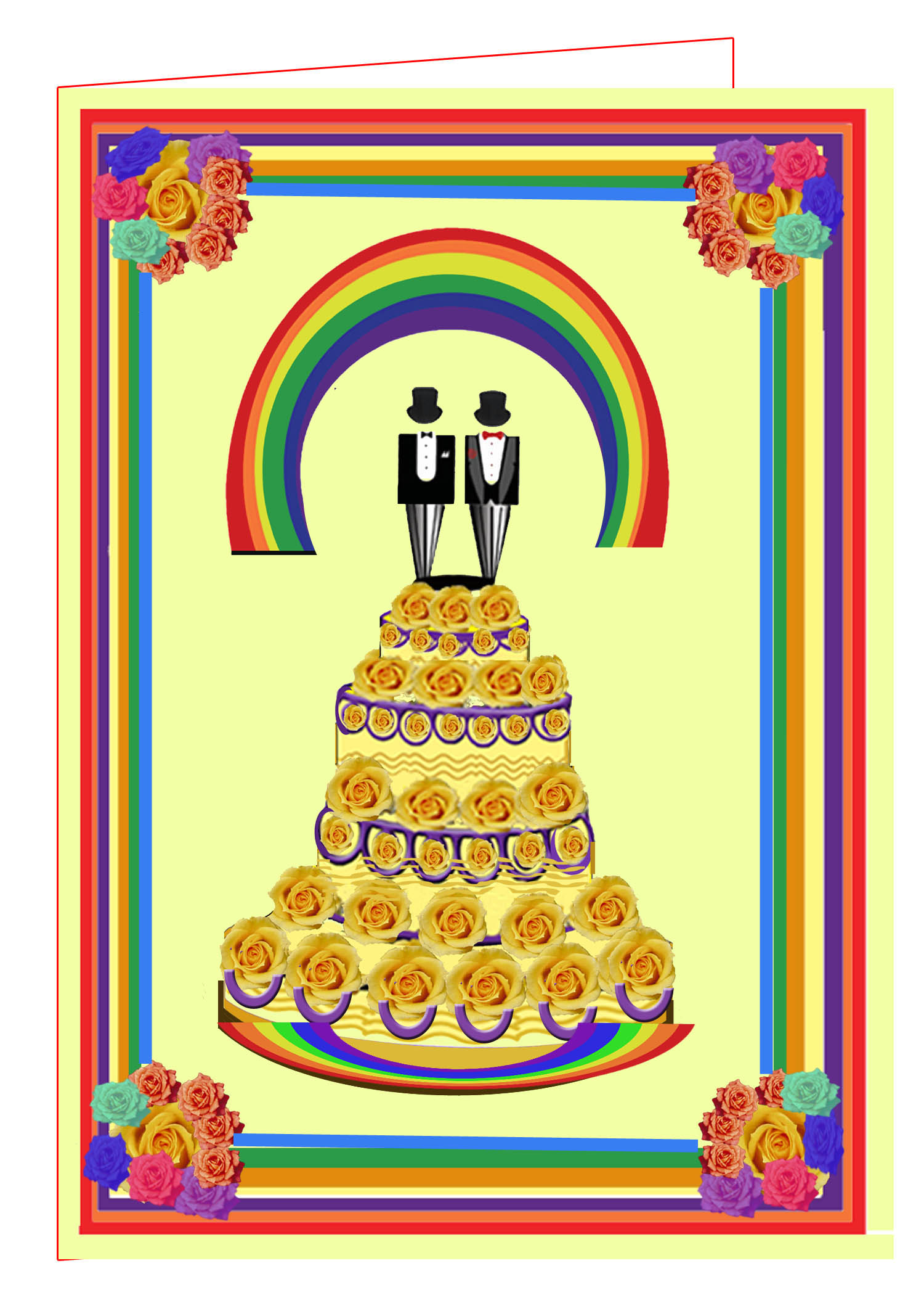 Gay  Wedding Cake-Yellow