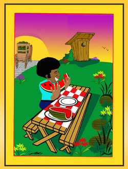Watermelon Eating  Picnic Table