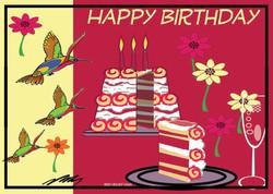 Happy Birthday Birds Cake-Red Velvet