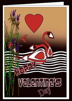 Love Swans Dark Lake