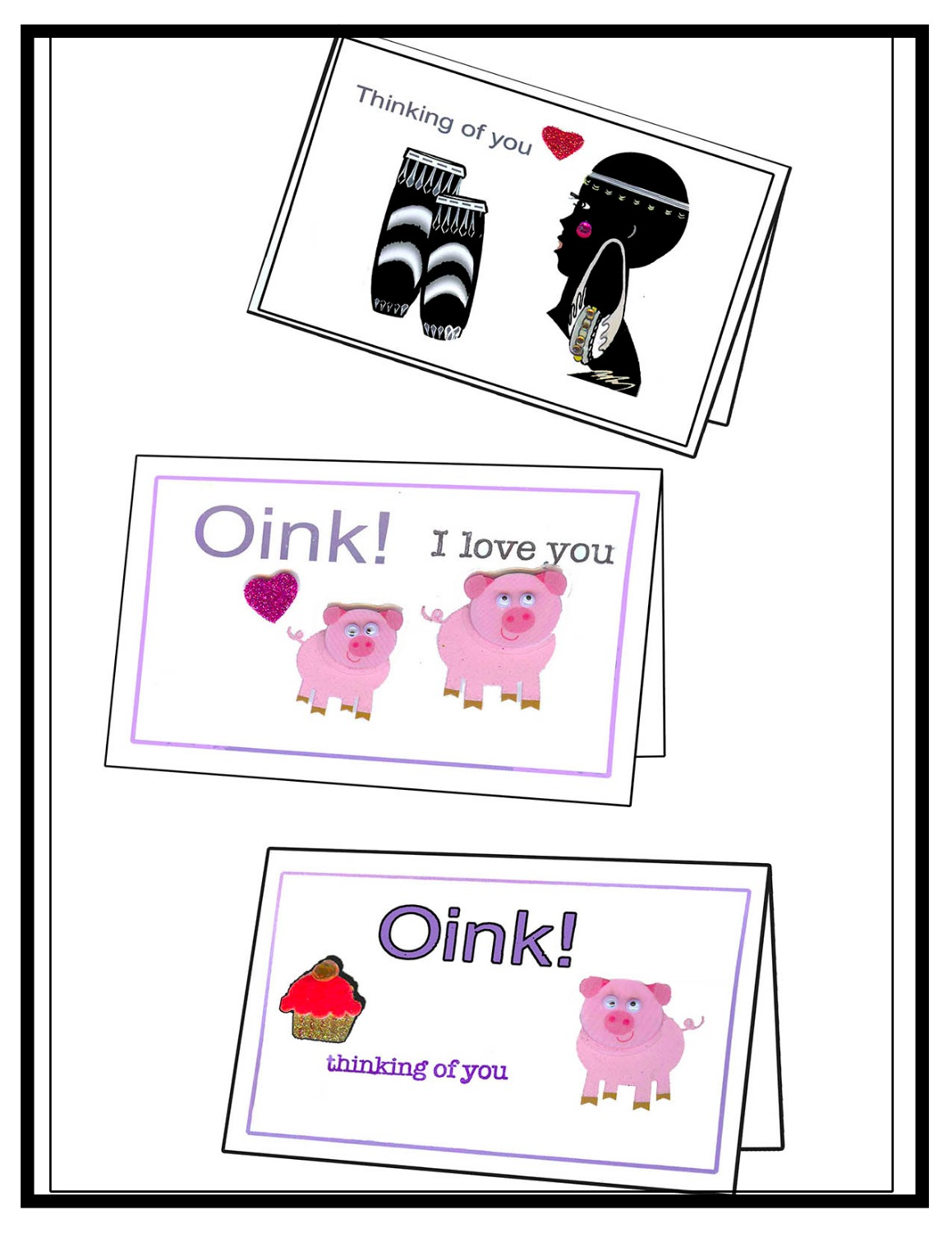 Humor Card -Oink & Ebony Princess