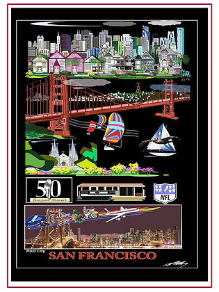 S F Bay Poster,Famous SF Cable Car & Street Car
