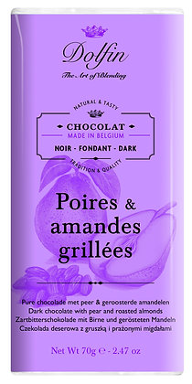 Dolfin Zartbitterschokolade mit Birne und gerösteten Mandeln - 70g