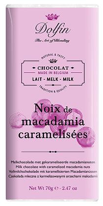 Dolfin Vollmilchschokolade mit karamellisierten Macadamia-Nüssen - 70g