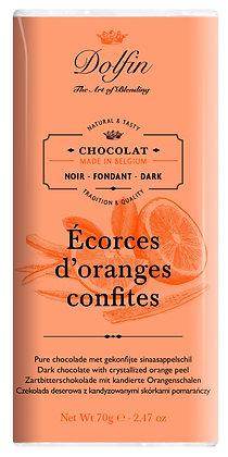 Dolfin Zartbitterschokolade mit kandierte Orangenschalen - 70g