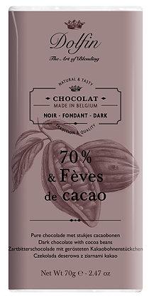 Dolfin Zartbitterschololade 70% Kakao mit gerösteten Kakaobohnenstücke - 70g