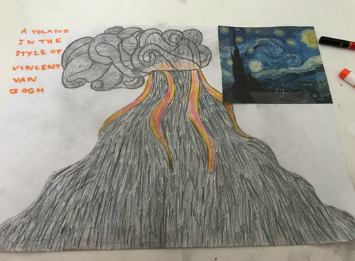 Inspired volcano art from Year 6