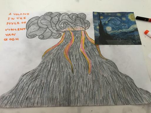 Inspired volcano art from Year 6