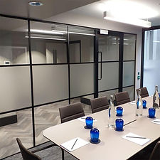 office partitions in black steel framed glass
