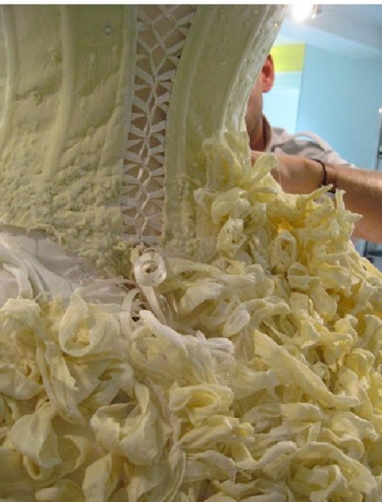 vestido de novia de chocolate blanco