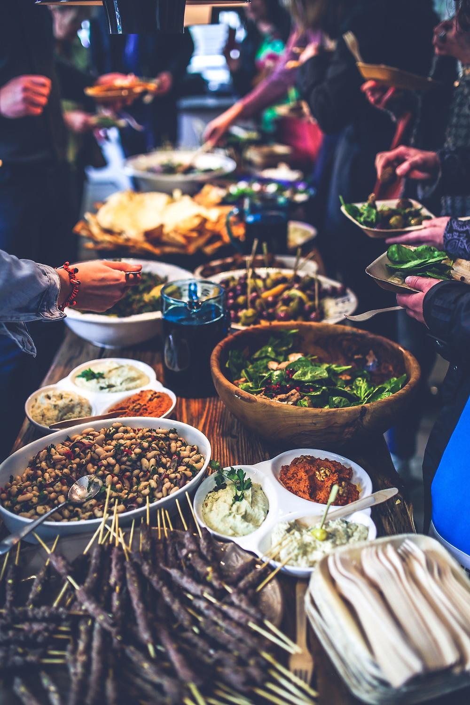 Menú buffet; menú boda informal
