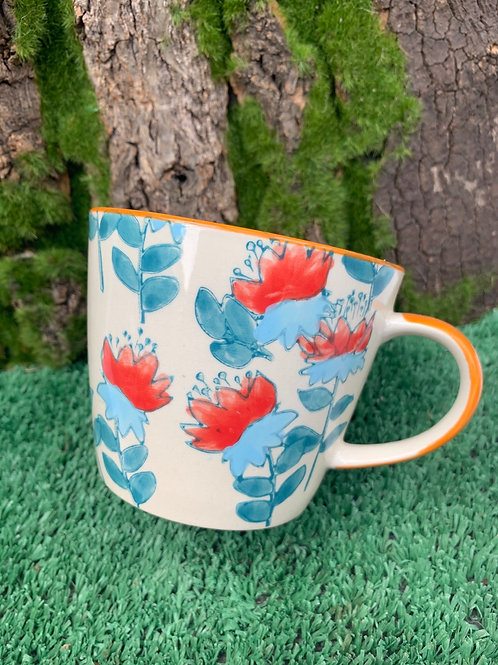 Blue And Red Floral Cup