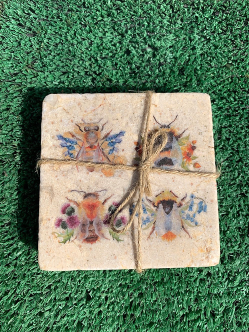 British Collection Bees Coaster (Pair)