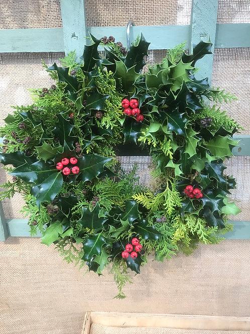 """Plain 8"""" Holly Wreath"""