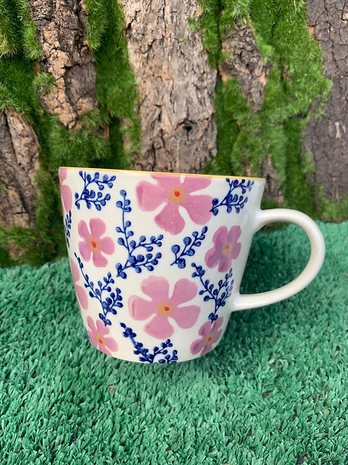 Blue And Pink Floral Cup