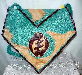 Mixed Fabric & Leather Turquoise Bag