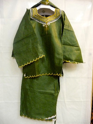 Green Set with White & Gold Embroidery