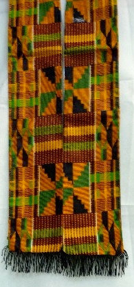 Kente Scarf with Black Fringes