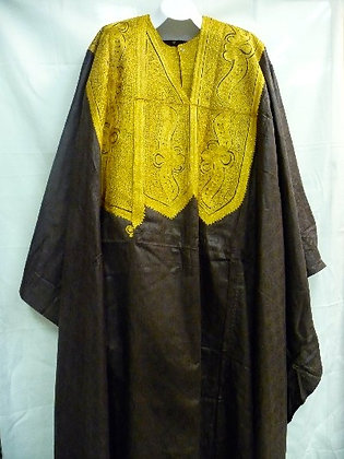 Brown Grand Bubu with Gold Embroidery