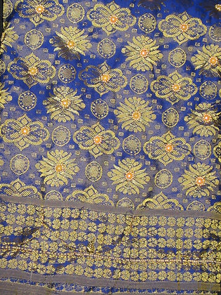 Blue & Gold George Fabric